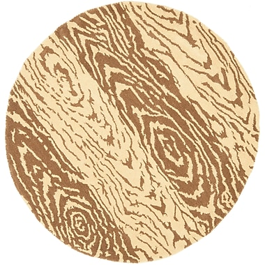 Martha Stewart Rugs Layered Faux Bois Hand-Loomed Sequoia Area Rug; Round 4' x 4'