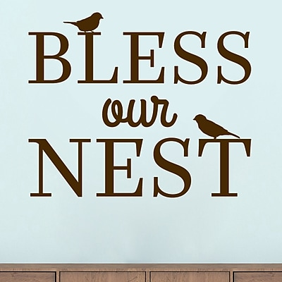 SweetumsWallDecals Bless Our Nest Wall Decal; Brown