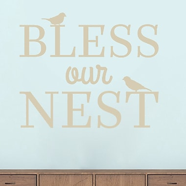 SweetumsWallDecals Bless Our Nest Wall Decal; Light Beige