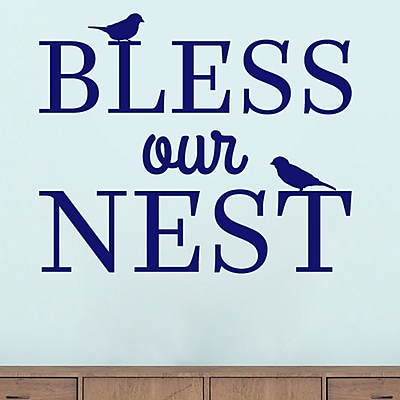 SweetumsWallDecals Bless Our Nest Wall Decal; Navy