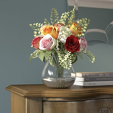 August Grove Rose and Maiden Hair Floral Arrangement w/ Vase; Assorted