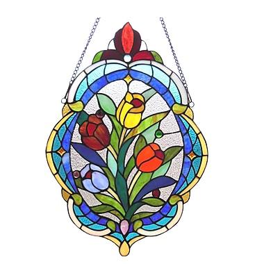 Astoria Grand Tiffany Glass Tulip Window Panel