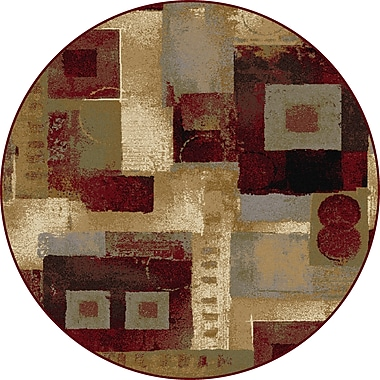 Astoria Grand Barbarra Brown/Red Area Rug; Round 5'3''