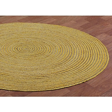 August Grove Latour Hand-Loomed Yellow Area Rug; Round 6'