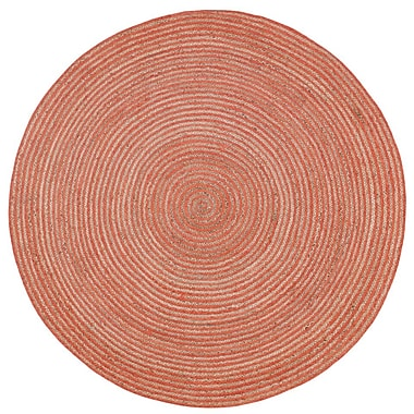 August Grove Latour Hand-Loomed Orange Area Rug; Round 6'