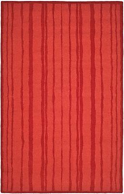 Martha Stewart Rugs Freehand Stripe Hand-Loomed Vermillon Area Rug; Rectangle 5' x 8'