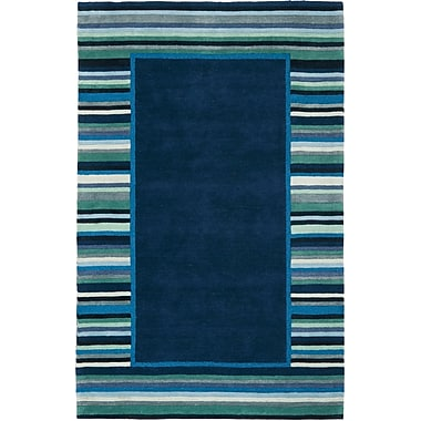 Martha Stewart Rugs Striped Border Hand-Tufted Wrought Iron Area Rug; Rectangle 4' x 6'
