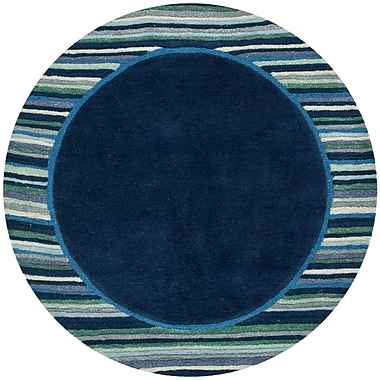 Martha Stewart Rugs Striped Border Hand-Tufted Wrought Iron Area Rug; Round 8' x 8'