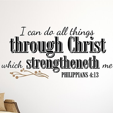 Enchantingly Elegant I Can Do All Things Through Christ Religious Vinyl Letter Word Wall Decal