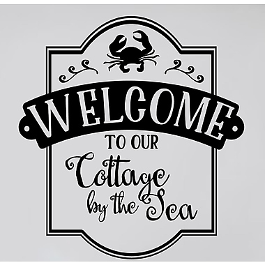 Enchantingly Elegant Welcome to Our Cottage by the Sea Beach Vinyl Letter Word Wall Decal