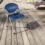 Latitude Run Oleanna Stacking Chair (Set of 4); Navy