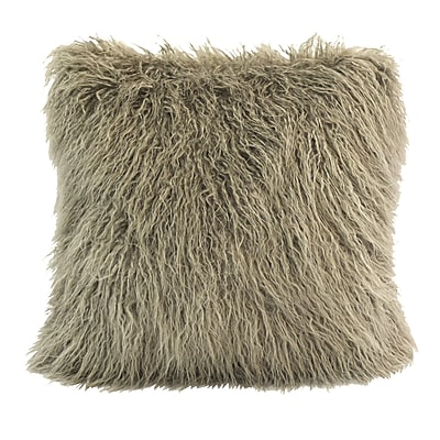 Loon Peak Odonnell Mongolian Faux Fur Throw Pillow; Taupe