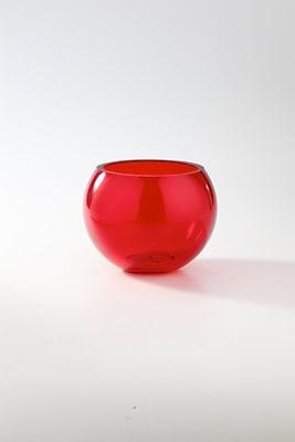 Diamond Star Glass Table Vase; Red