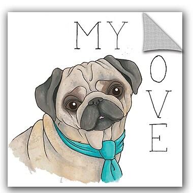 ArtWall Elyse DeNeige Puppy Love Pug Color Wall Decal; 36'' H x 36'' W x 0.1'' D