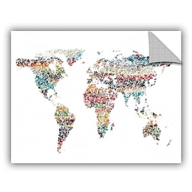 ArtWall Irena Orlov Text World Map 2 Wall Decal; 8'' H x 10'' W x 0.1'' D