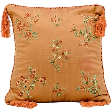 August Grove Cora Embroidery Silk Throw Pillow