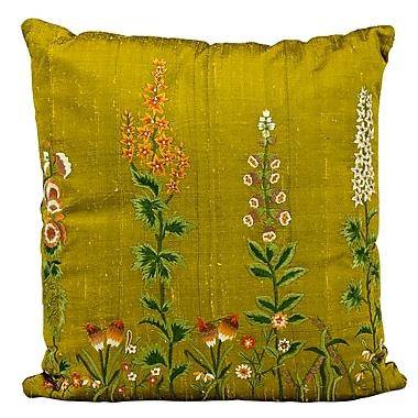 August Grove Desiree Orange Blossom Embroidery Silk Throw Pillow