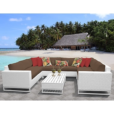 TK Classics Miami 9 Piece Sectional Seating Group w/ Cushions; Cocoa