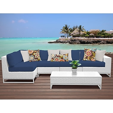 TK Classics Miami 6 Piece Sectional Seating Group w/ Cushions; Navy