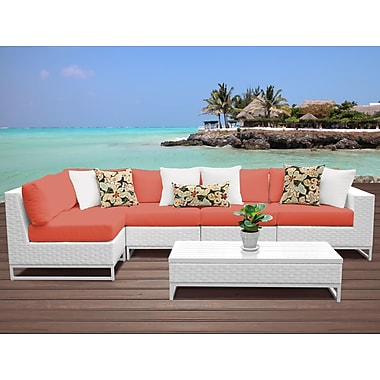 TK Classics Miami 6 Piece Sectional Seating Group w/ Cushions; Tangerine