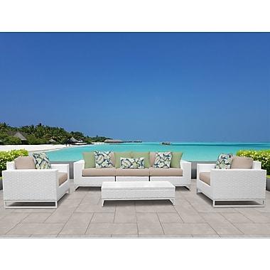 TK Classics Miami 6 Piece Deep Seating Group w/ Cushions; Wheat