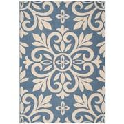 Martha Stewart Rugs Bloomfield Azurite Beige/Blue Area Rug; 5'3 inch x 7'7 inch  by