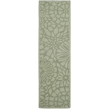 Martha Stewart Rugs Full Bloom Hand-Loomed Beige/Green Area Rug; Runner 2'3'' x 8'