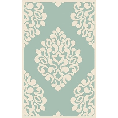 Martha Stewart Rugs Floret Hand-Loomed Green/Beige Area Rug; Rectangle 5' x 8'