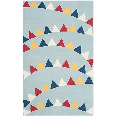 Martha Stewart Rugs Party Time Hand-Loomed Blue/Red Area Rug; 5' x 8'