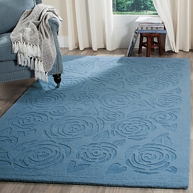 Martha Stewart Rugs Block Rose Hand-Loomed Thistle Blue Area Rug; Rectangle 4' x 6'