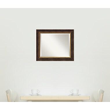 Fleur De Lis Living Distressed Black Wood Wall Mirror; Medium