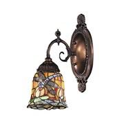 Fleur De Lis Living Antoinette 1-Light Wall Sconce w/ Dragonfly Design Glass Shade; 75W Med. Bulb