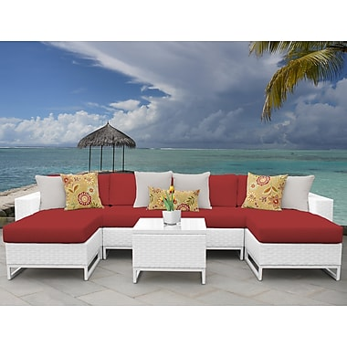 TK Classics Miami 7 Piece Sectional Seating Group w/ Cushions; Terracotta