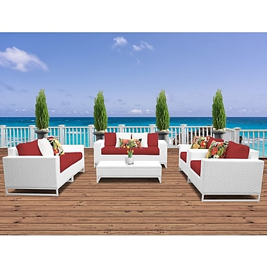TK Classics Miami 7 Piece Deep Seating Group w/ Cushions; Terracotta