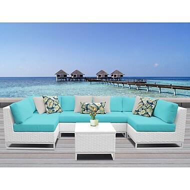 TK Classics Miami 7 Piece Sectional Seating Group w/ Cushions; Aruba