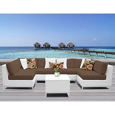 TK Classics Miami 7 Piece Sectional Seating Group w/ Cushions; Cocoa