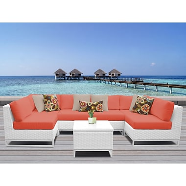 TK Classics Miami 7 Piece Sectional Seating Group w/ Cushions; Tangerine