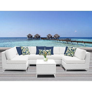 TK Classics Miami 7 Piece Sectional Seating Group w/ Cushions; White