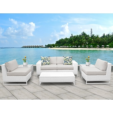 TK Classics Miami 7 Piece Deep Seating Group w/ Cushions; Beige