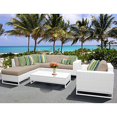 TK Classics Miami 7 Piece Sectional Seating Group w/ Cushions; Wheat