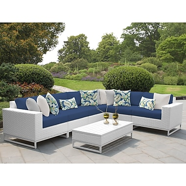 TK Classics Miami 7 Piece Sectional Seating Group w/ Cushions; Navy