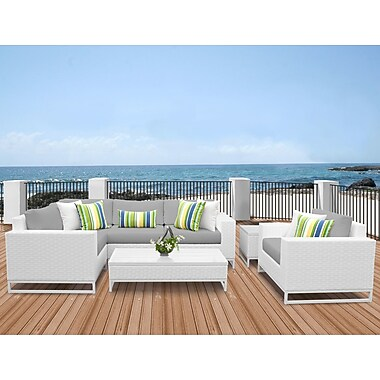 TK Classics Miami 7 Piece Sectional Seating Group w/ Cushions; Gray