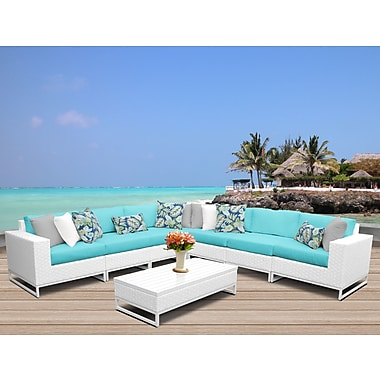 TK Classics Miami 8 Piece Sectional Seating Group w/ Cushions; Aruba