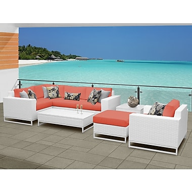 TK Classics Miami 8 Piece Sectional Seating Group w/ Cushions; Tangerine