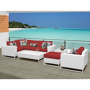 TK Classics Miami 8 Piece Sectional Seating Group w/ Cushions; Terracotta