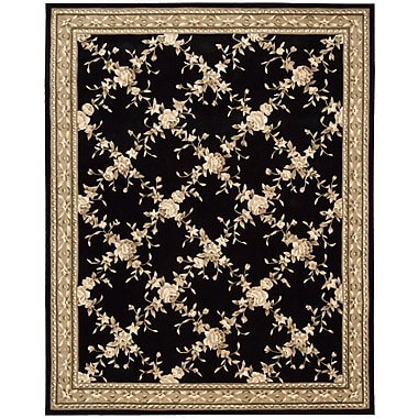 August Grove Kendra Hand-Tufted Black Area Rug; Rectangle 7'6'' x 9'6''