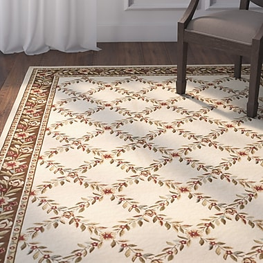 Astoria Grand Taufner Ivory/Brown Checked Area Rug; Rectangle 6'7'' x 9'6''