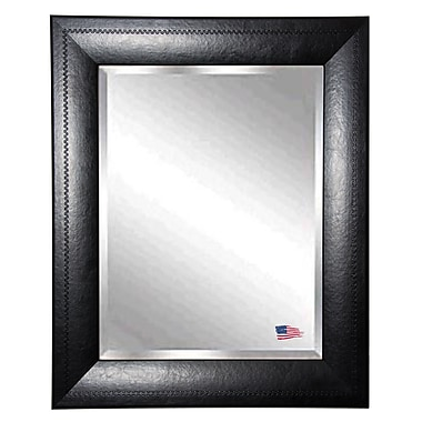 Red Barrel Studio Rectangle Black Stitched Leather Wall Mirror; 25.75'' H x 21.75'' W x 1'' D
