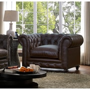 17 Stories Damon Antique Brown Leather Chesterfield Chair