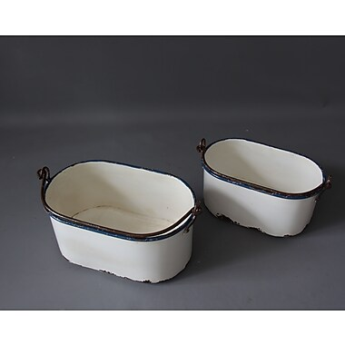 August Grove Oval Metal 2 Piece Bucket Set